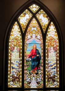 Jesus Christ in Stained Glass at the Unitarian Church.