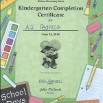 AJ's Certificate of Completion of Kindergarten.