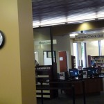 New self-checkout counters at the new Marcy Branch Library.
