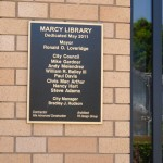 A plaque dedicating the new Marcy Branch library in 2011.