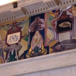 The murals from the 1930s show in pictograph man's progress in science.