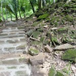 Workers were piecing together the old stones to make new walkways.