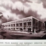 This design drawing shows the opening of the new Riverside Police Station in 1965. (Courtesy Ruhnau Ruhnau Clarke)