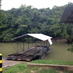 The ferry that takes people across the Mopan river.