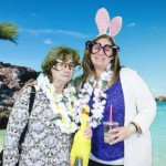 Mom and Amy decided their souvenir picture needed a chicken and bunny ears.