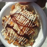 My finished Okonomiyaki with mayonnaise and sauce.