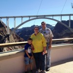 The family looking at the friendship bridge (goes across Boulder Canyon).