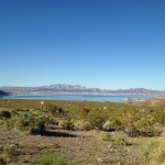 A view of Lake Mead behind the Hoover Dam.