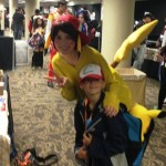 AJ was bound to find Pikachu. She was very nice to let us take her picture.