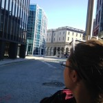 Denise looking at the building (the glass one) where they filmed Spiderman.
