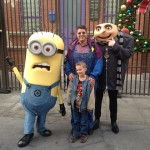 AJ and I with Gru and a minion. I was dressed for the occasion, I don't know why AJ didn't read the memo.