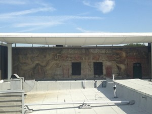 What the mural looks like today. You can barely make out the colors.