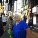 AJ and Denise among the Tokyo lights.